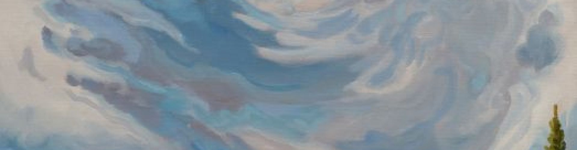 A painting of a landscape with a storm in the sky by Linda Lovisa.