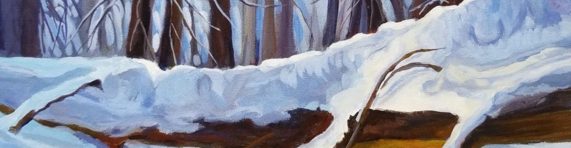 An acrylic pain of trees covered in snow.