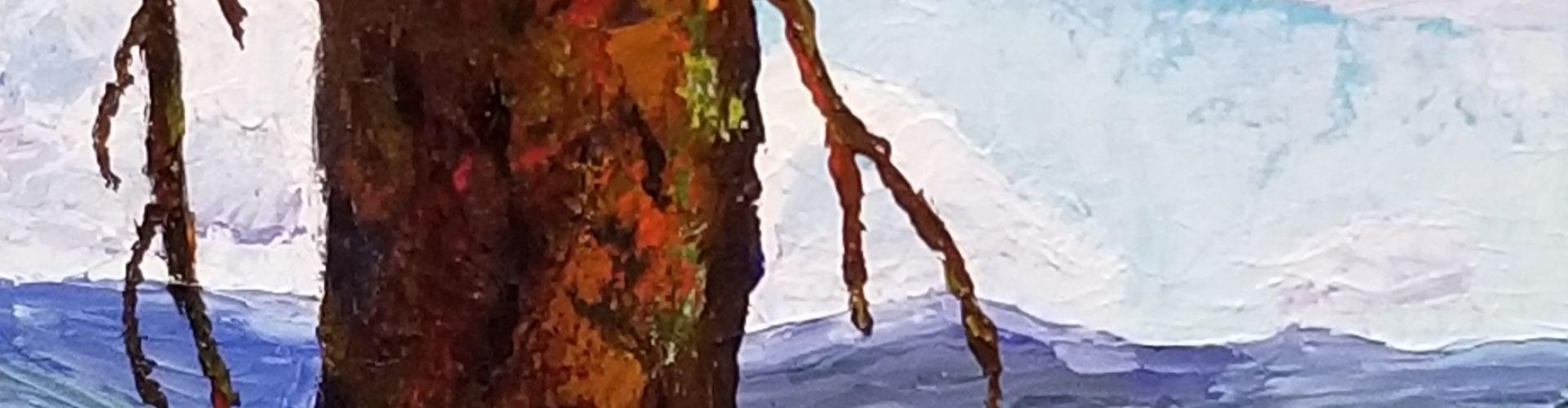 Ponderosa Pine on Crystal Mountain painting by Linda Lovisa