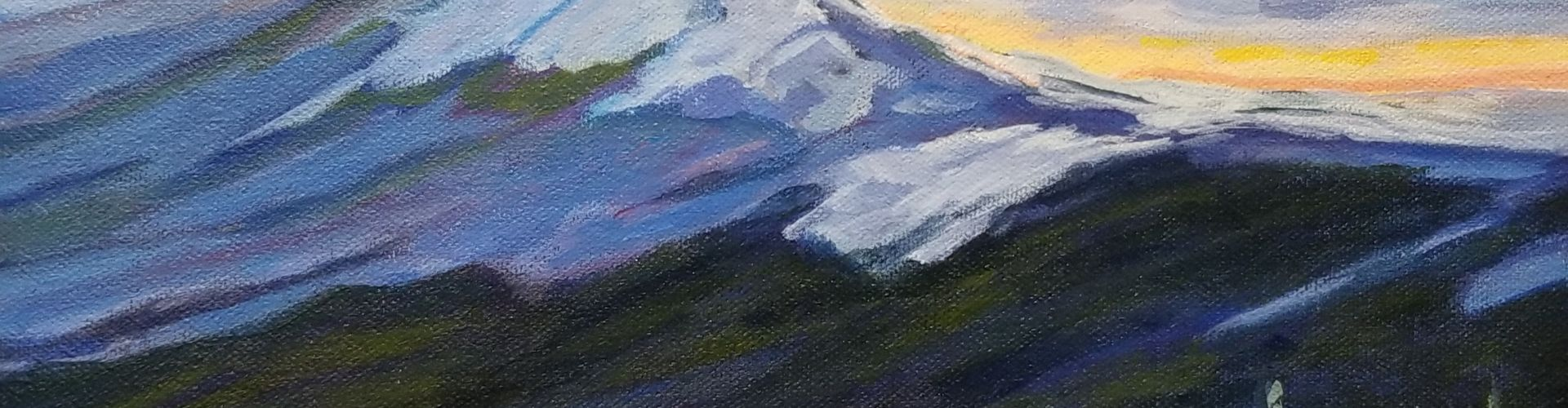 Sunset in Nakusp painting by Linda Lovisa