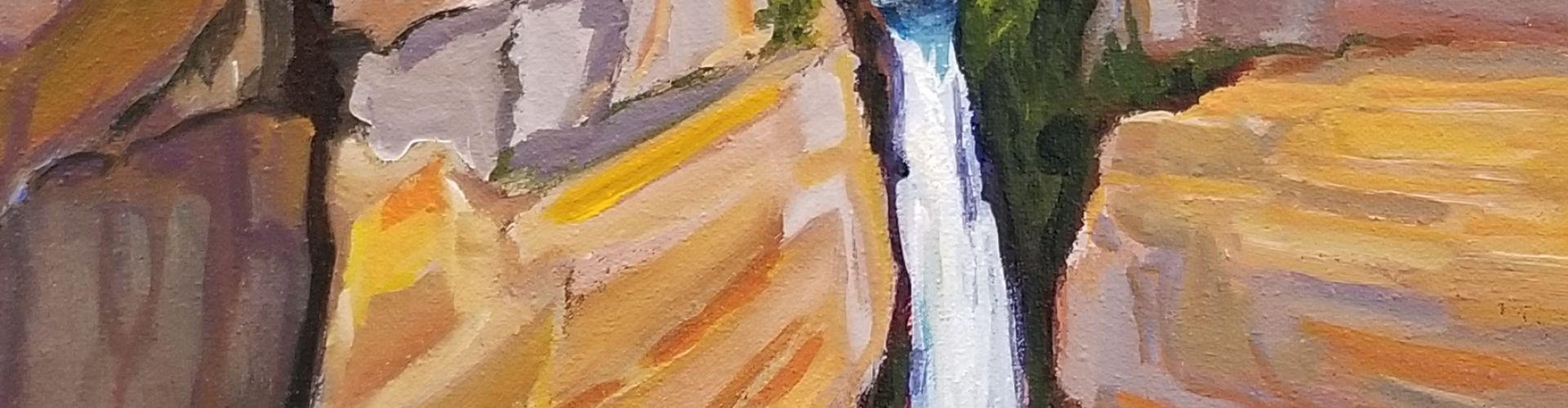 Helmacken Falls painting by Linda Lovisa