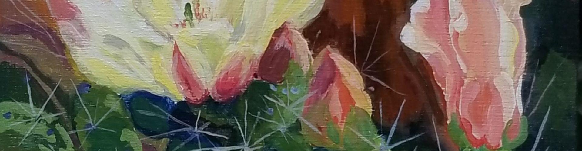 Prickly Pear Cactus on Birch Panel painting by Linda Lovisa