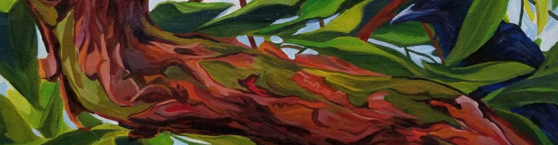 Visitor in the Arbutus Tree painting by Linda Lovisa
