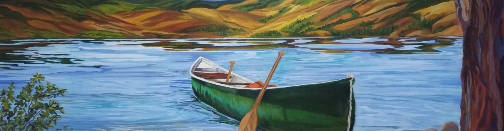 The Landing painting of a little beach in the Okanagan with a canoe pulled in by Linda Lovisa