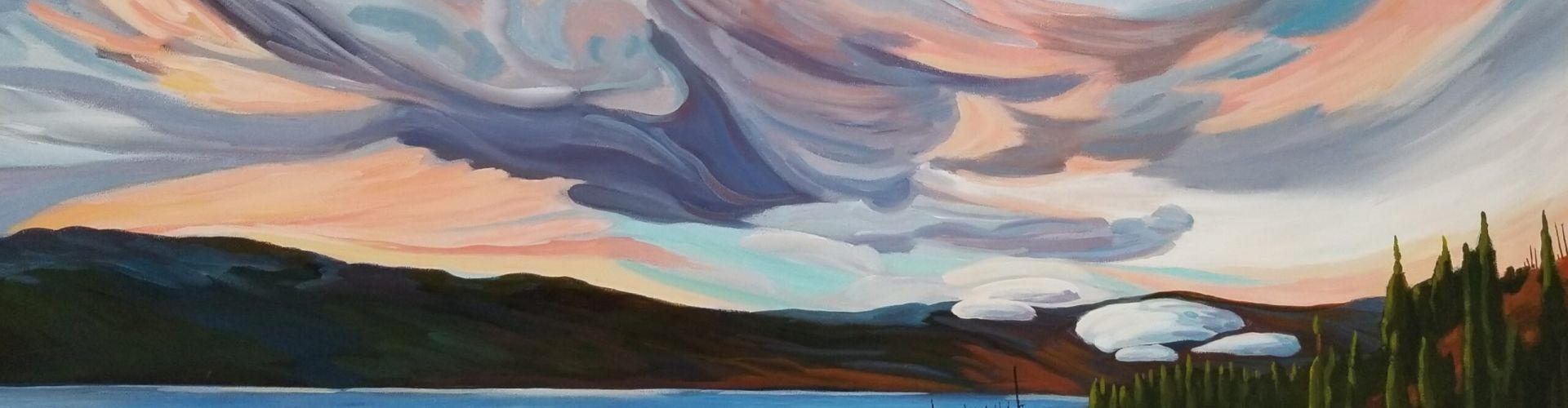 Glorious Morning painting of Goat's Peak in West Kelowna by Linda Lovisa