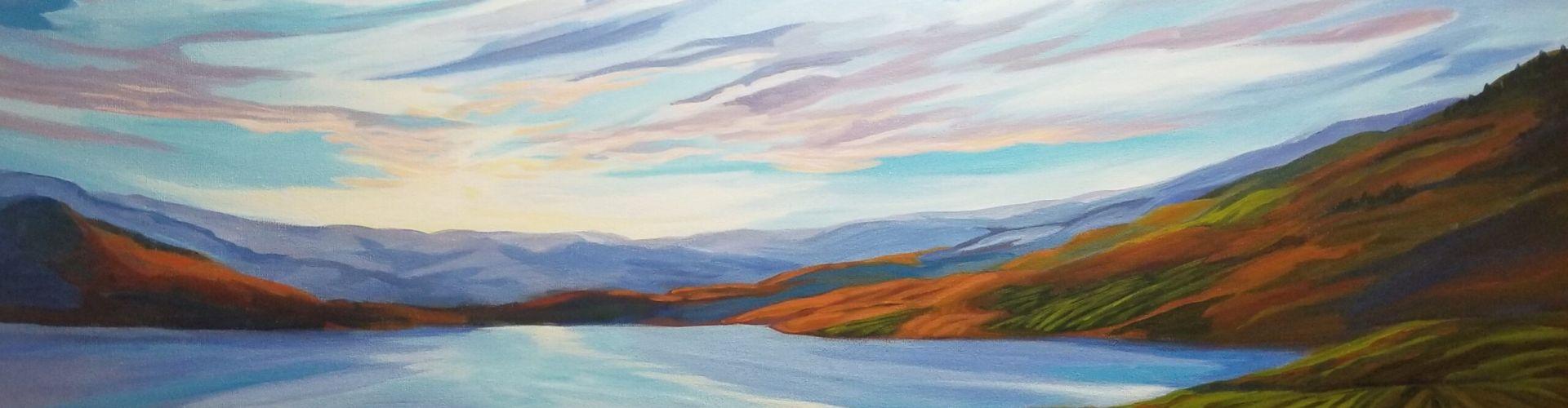 Morning Has Broken acrylic painting of a view of Naramata Bench by Canadian artist Linda Lovisa