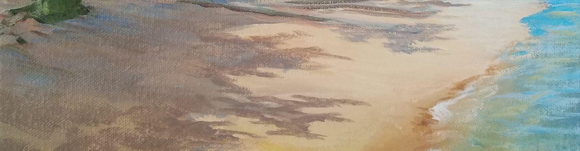 Slocan Lake Beach painting by Linda Lovisa