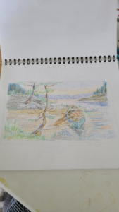 A doodle of a point on a river with two trees on the river bank, done with coloured pencil, and shaded with soft colours of green, yellow, and blue, a piece by Linda Lovisa